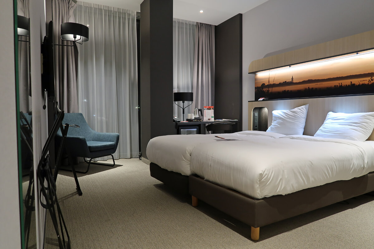 Corendon Vitality Hotel Amsterdam Wheelchair Accessible Hotel In Amsterdam: Comfortable bed in the wheelchair accessible room at Corendon Vitality Hotel Amsterdam.