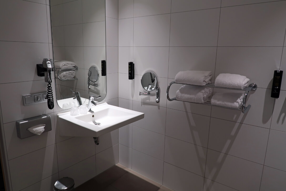 Corendon Vitality Hotel Amsterdam Wheelchair Accessible Hotel In Amsterdam: Roll under bathroom sink in the wheelchair accessible bathroom at Corendon Vitality hotel Amsterdam,