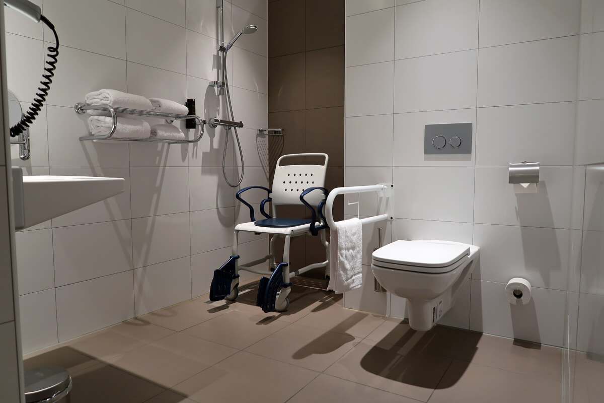Corendon Vitality Hotel Amsterdam Wheelchair Accessible Hotel In Amsterdam: Accessible bathroom in our wheelchair accessible room at Corendon Vitality hotel Amsterdam.
