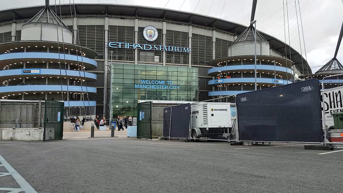 The view of Etihad Stadium from the disabled car park.
