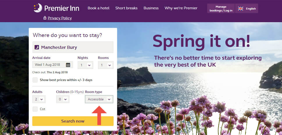 Accessible room type listed on Premier Inn Manchester Bury booking website