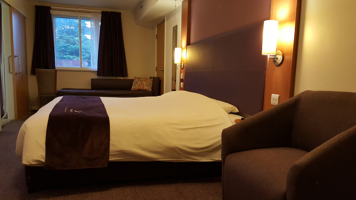 Large comfortable bed in our accessible room as well as a sofa bed.