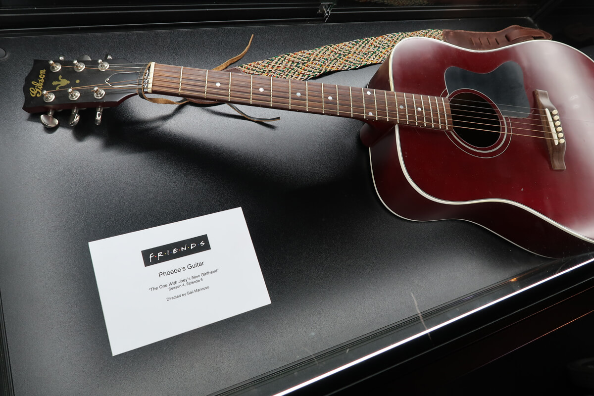 Original props from the Friends TV show including Phoebe's guitar.