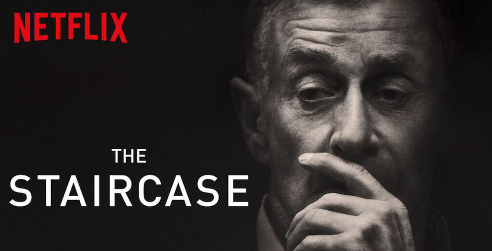Things I've Loved in June: A photo of Michael Peterson with a black background with the words 'The Staircase' and 'Netflix'.