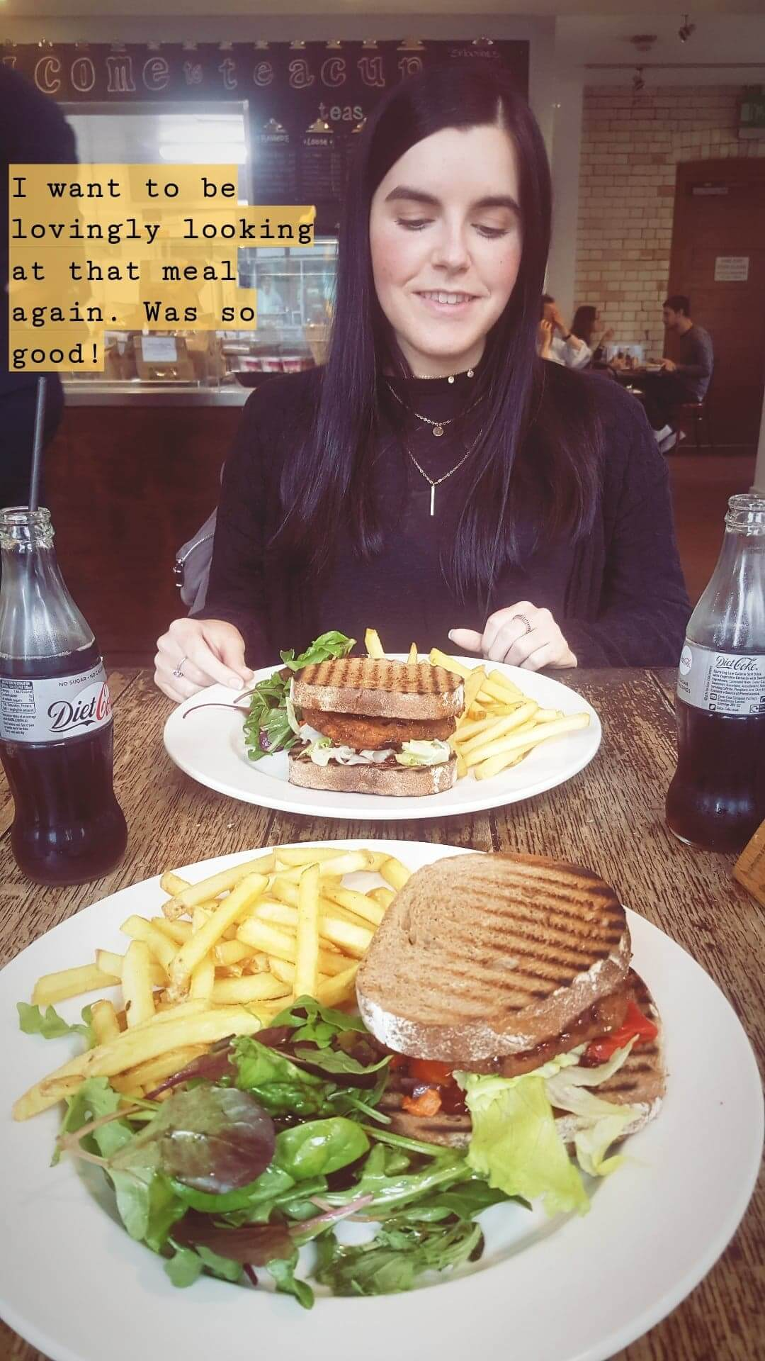 Things I've Loved in June: Emma enjoying a vegan sweet potato burger at Cafe at The Museum in Manchester.