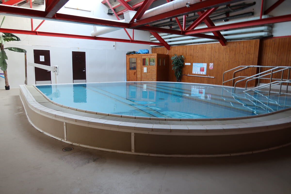 The hydrotherapy swimming pool with pool hoist at Calvert Trust Kielder