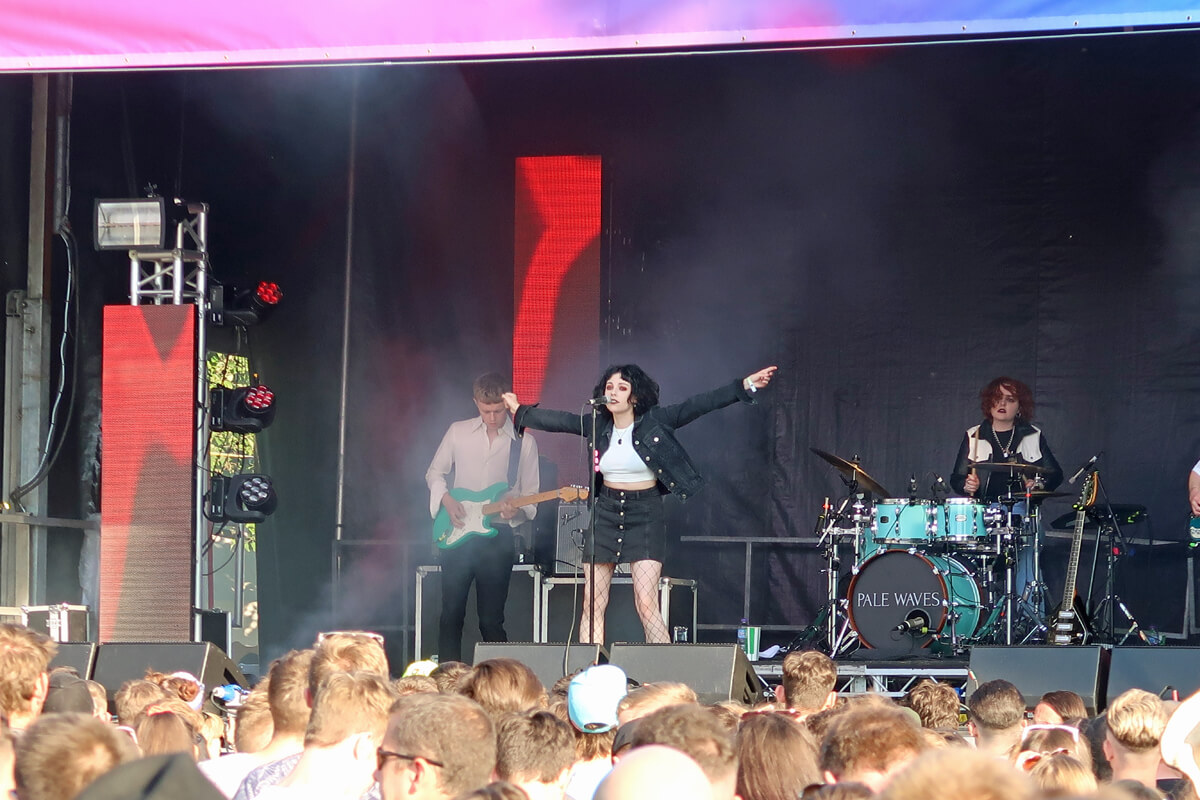 Pale Waves performing on the King Tuts stage at TRNSMT festival.