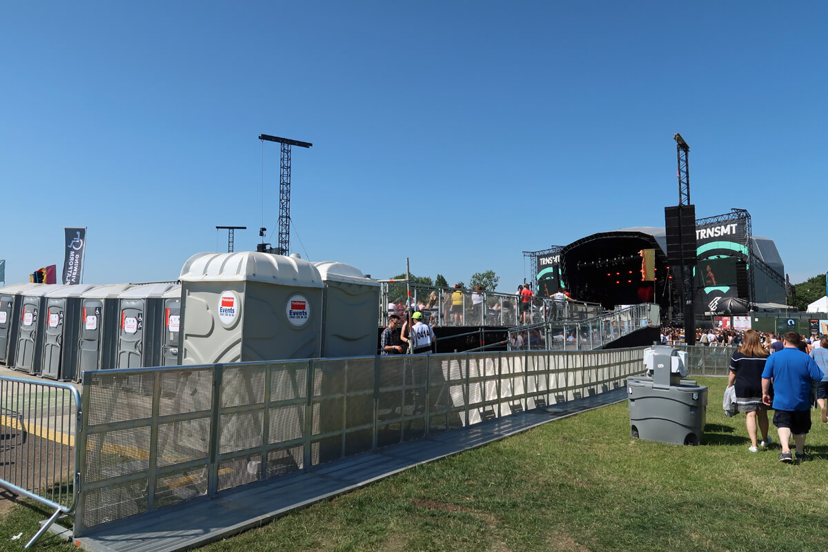 This image shows the TRNSMT Main stage, viewing platform and accessible toilets.