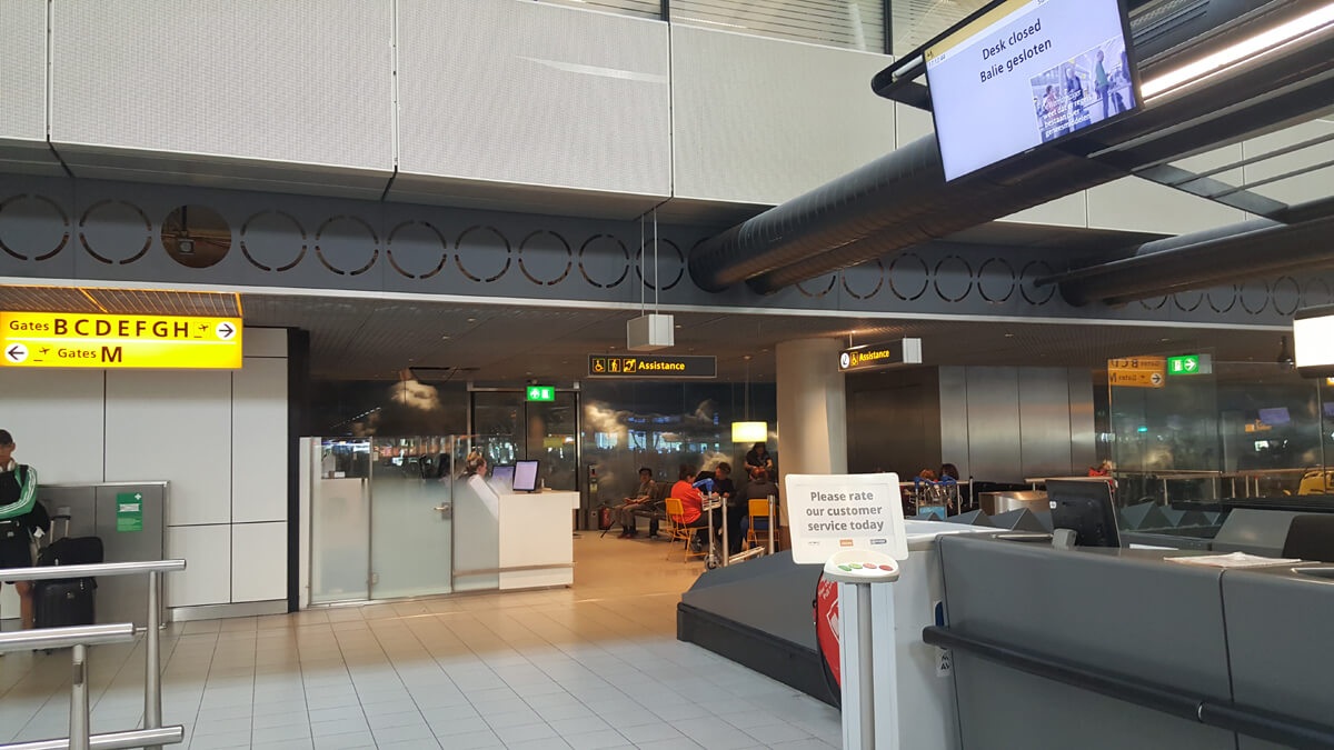 The special assistance waiting area at Amsterdam Airport Schiphol.