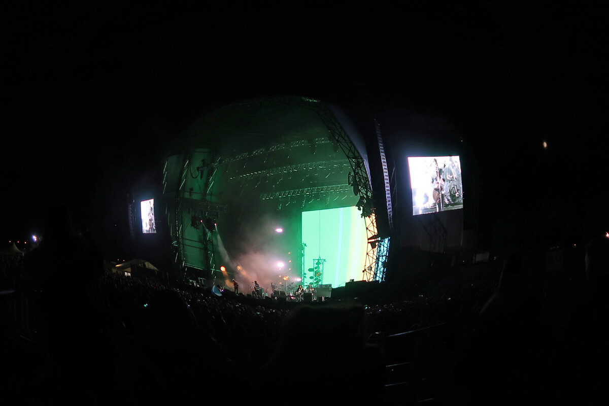 A fish-eye view of the stage while Kings of Leon perform at Glasgow Summer Sessions.