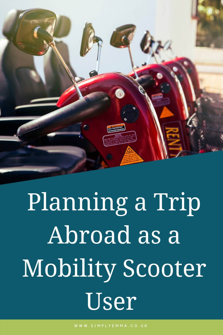 A pinterest image showing a close up of red mobility scooters in a row with the words 'Planning a Trip Abroad as a Mobility Scooter User' at the bottom of the image.