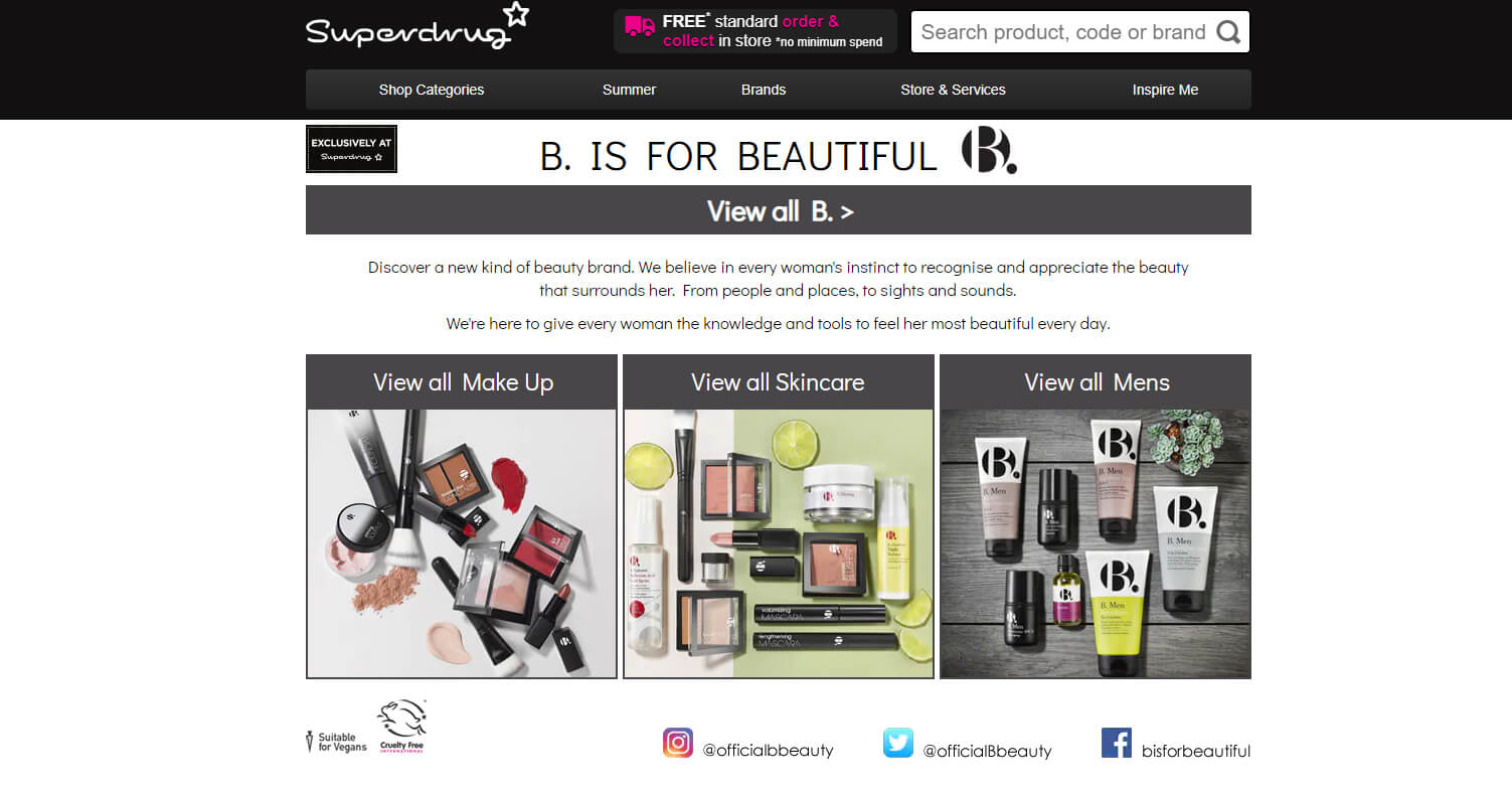 A screenshot from Superdrug's website showing their B. range makeup and skincare products.