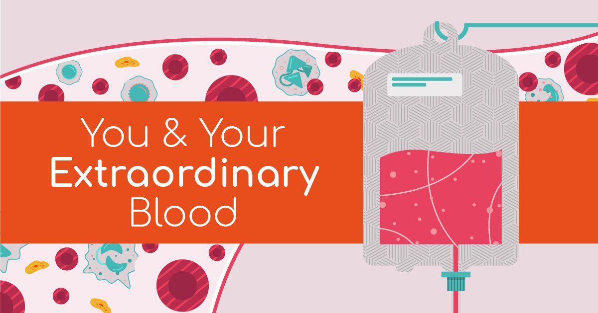 A colourful cartoon like image showing a blood transfusion bag with blood cells, plasma, and platelets floating in the background with the words 'You & Your Extraordinary Blood' in the centre.