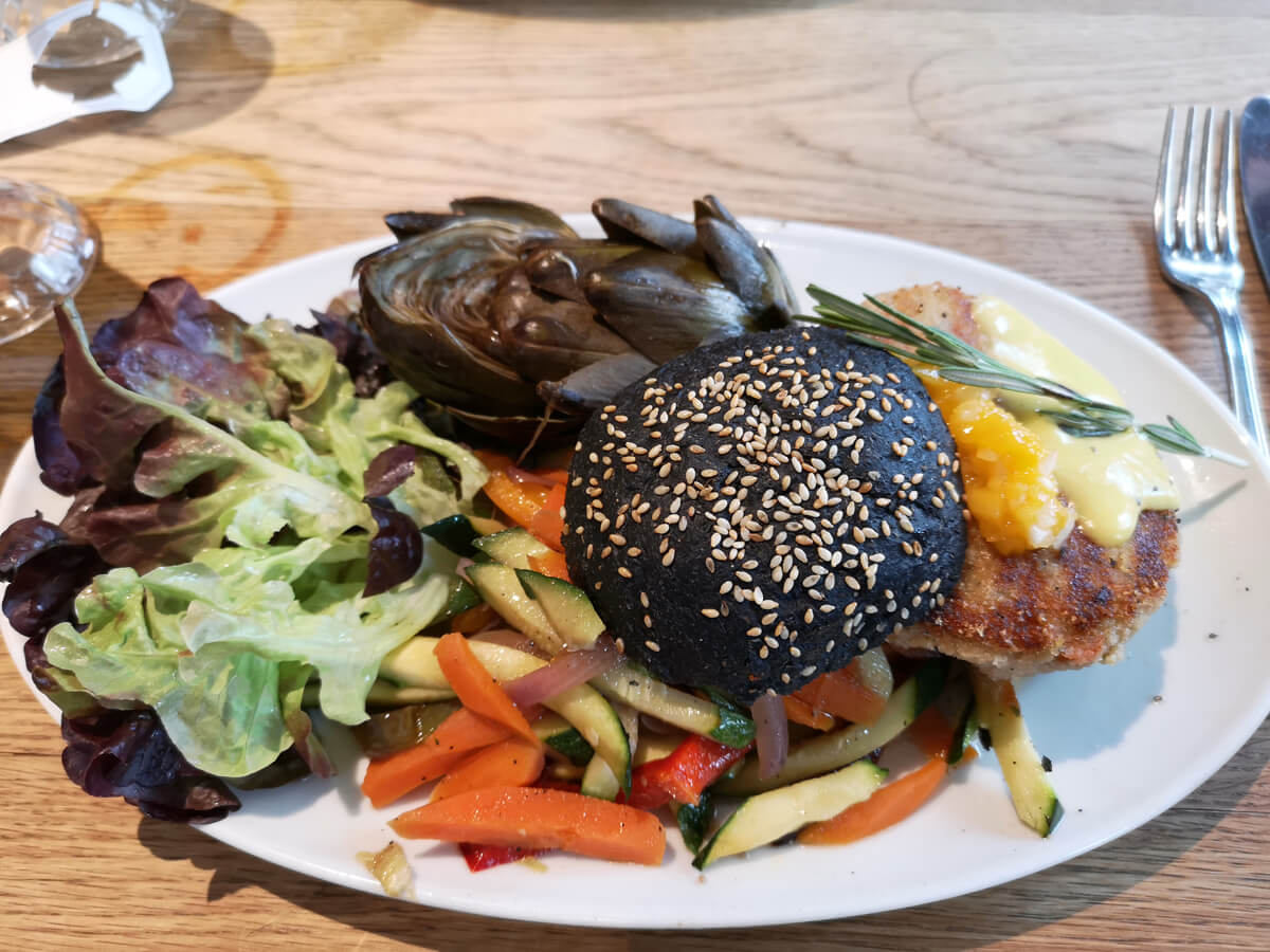 A vegan burger from Flax & Kale Tallers