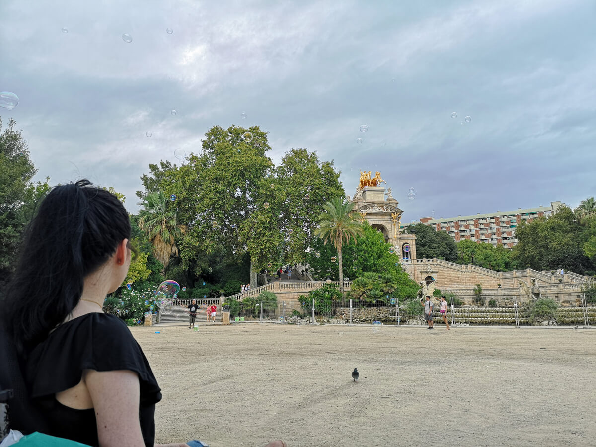Emma looking over at The Cascada in Parc de la Ciutadella Barcelona.