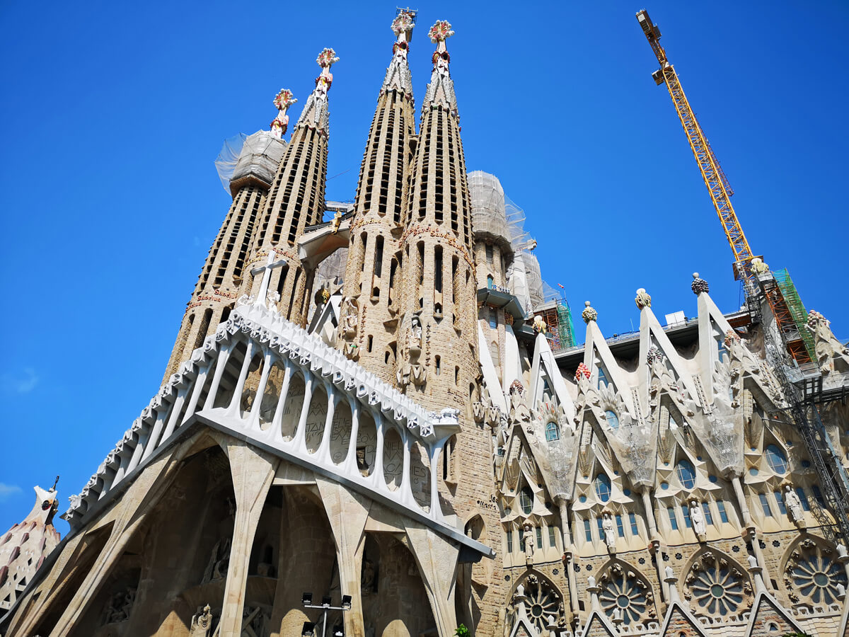 Sagrada Familia Barcelona with a stunning clear blue sky as a backdrop.