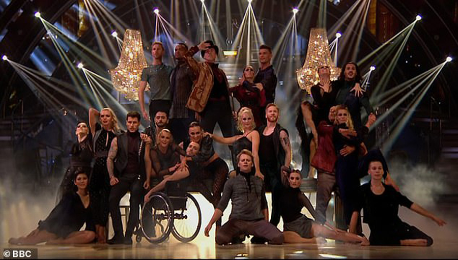 A group photo of Candoco Dance Company on Strictly Come Dancing 2018.