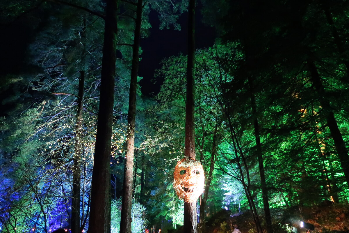 Green lit up trees and a giant face mask hanging on a tree.