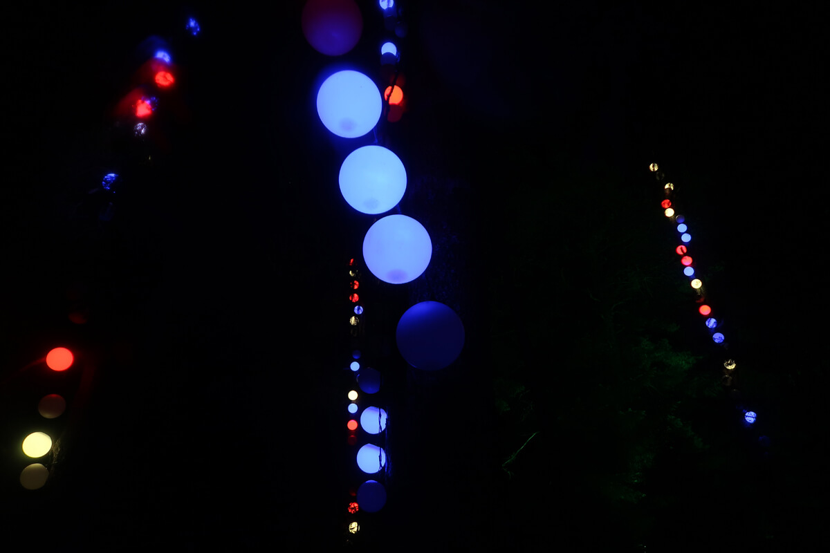 A close up of the multi-coloured giant ball lights hanging from the trees.