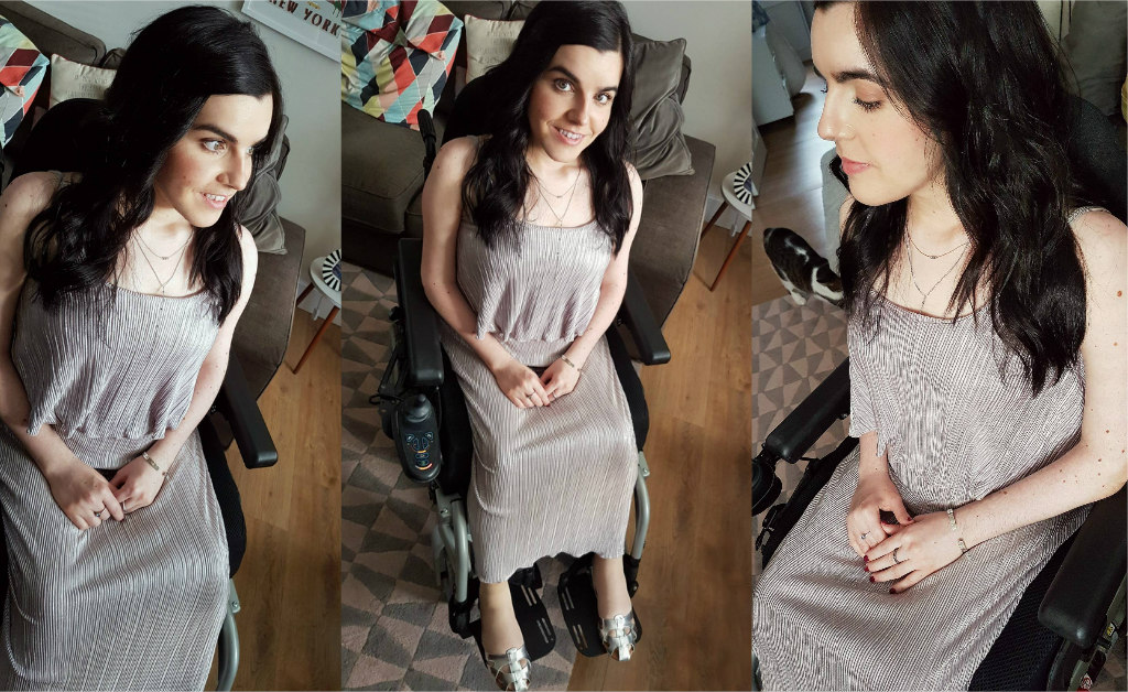 A collage of three images of Emma wearing a metallic maxi dress for a friends wedding.