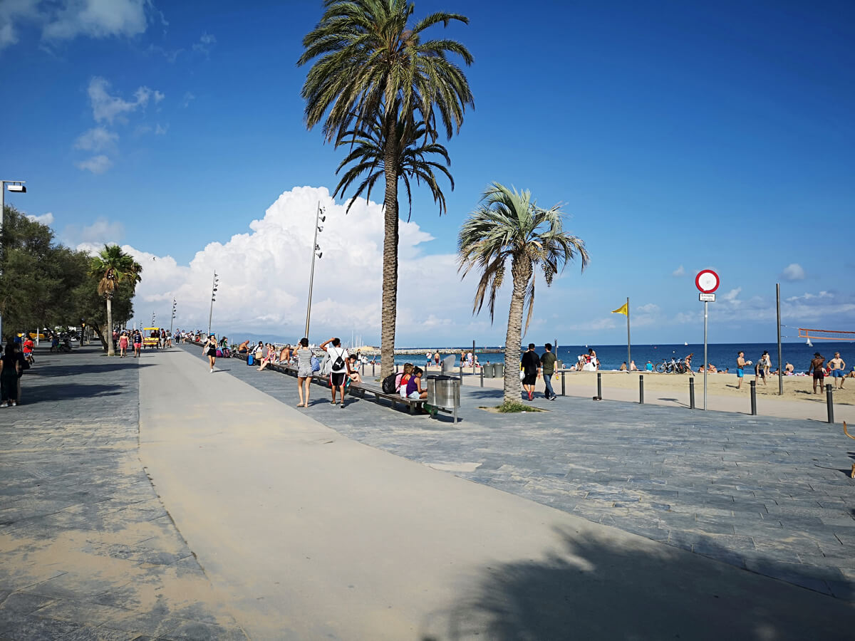 The wheelchair accessible promenade on Barcelona beach.