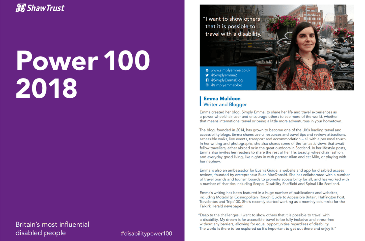 A collage of photos. On the left side is a the front cover of the Shaw Trust Power 100 2018 an annual publication. On the right is the page Emma is featured on with an image of Emma in Amsterdam with a description of Emma's work and achievements.