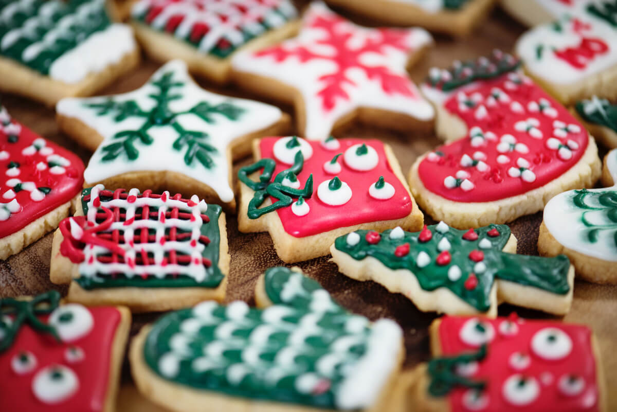 Selection of decorative Christmas cookies.