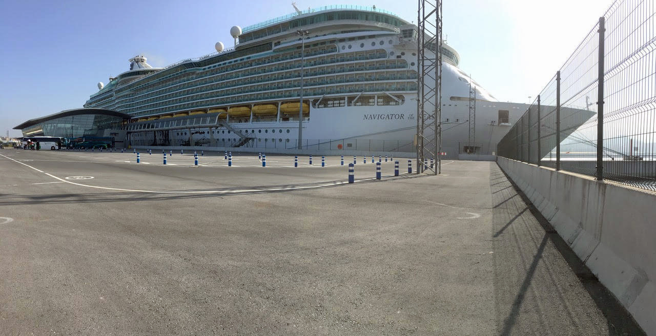 The Royal Caribbean Navigator of the Seas cruise ship docked.