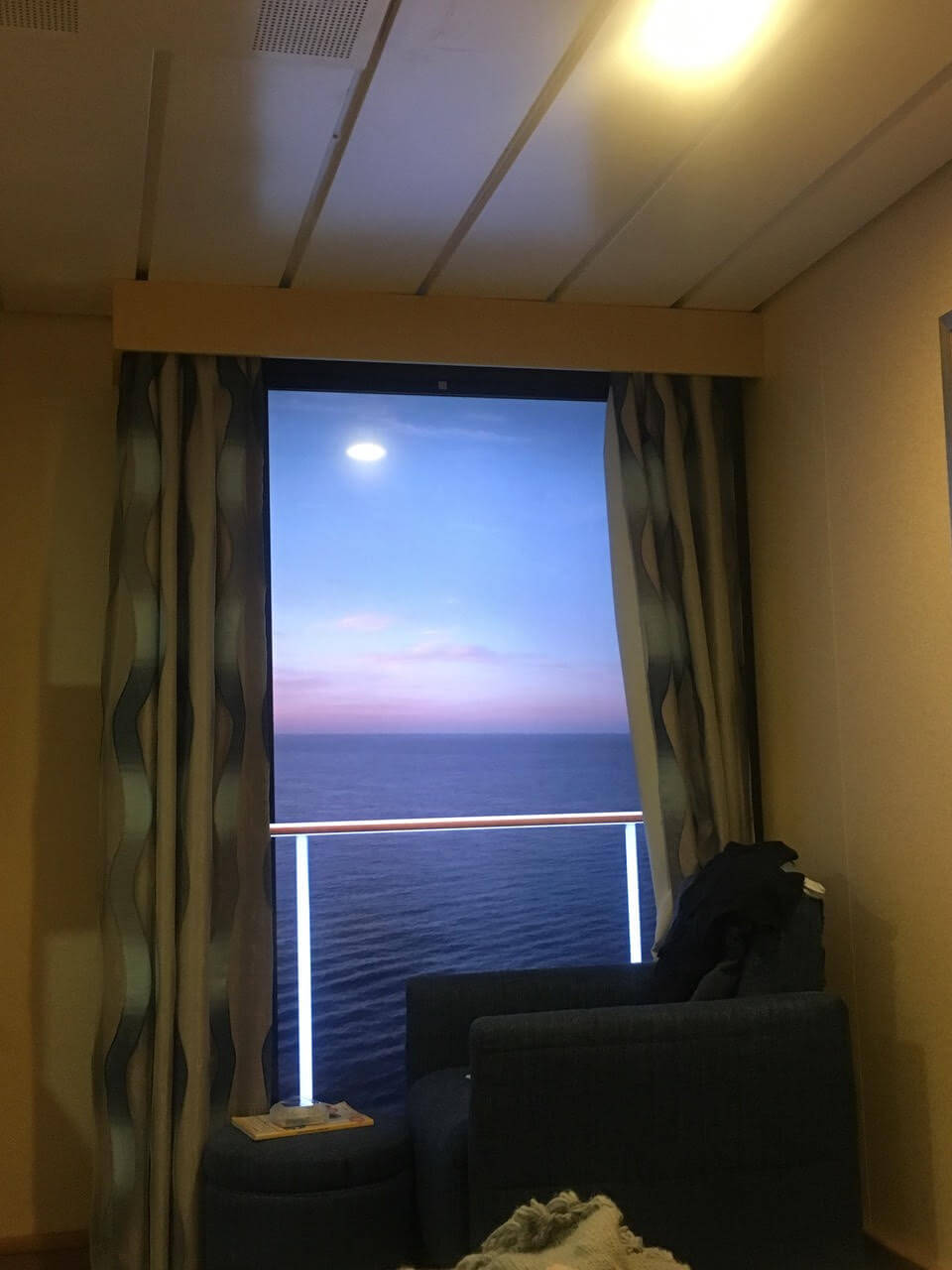 The Virtual balcony in the wheelchair accessible cabin on Royal Caribbean Cruise.