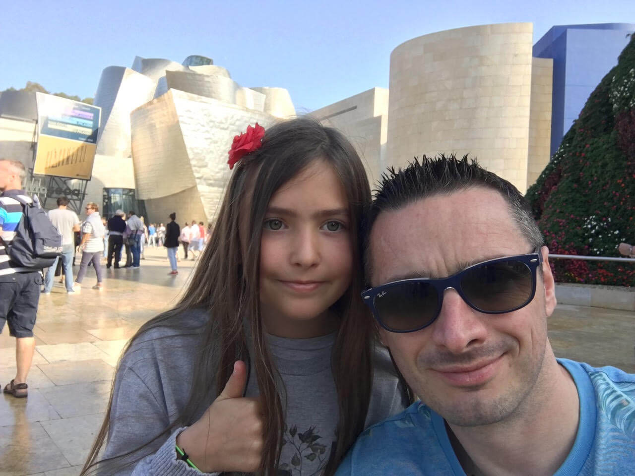 Steve and his daughter outside the Guggenheim, Bilbao.