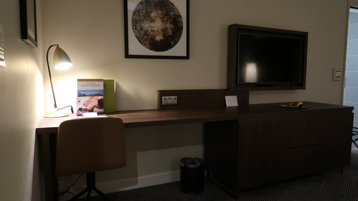 Work desk and TV in our hotel room.