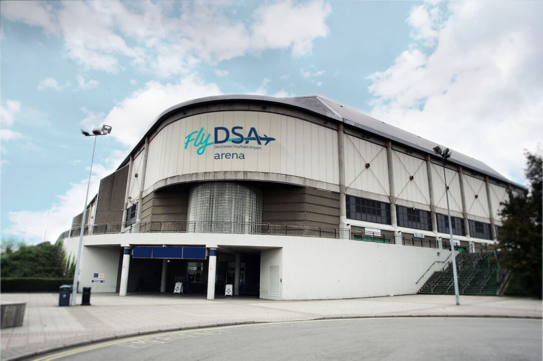 An exterior photo of the FlyDSA Arena Sheffield.