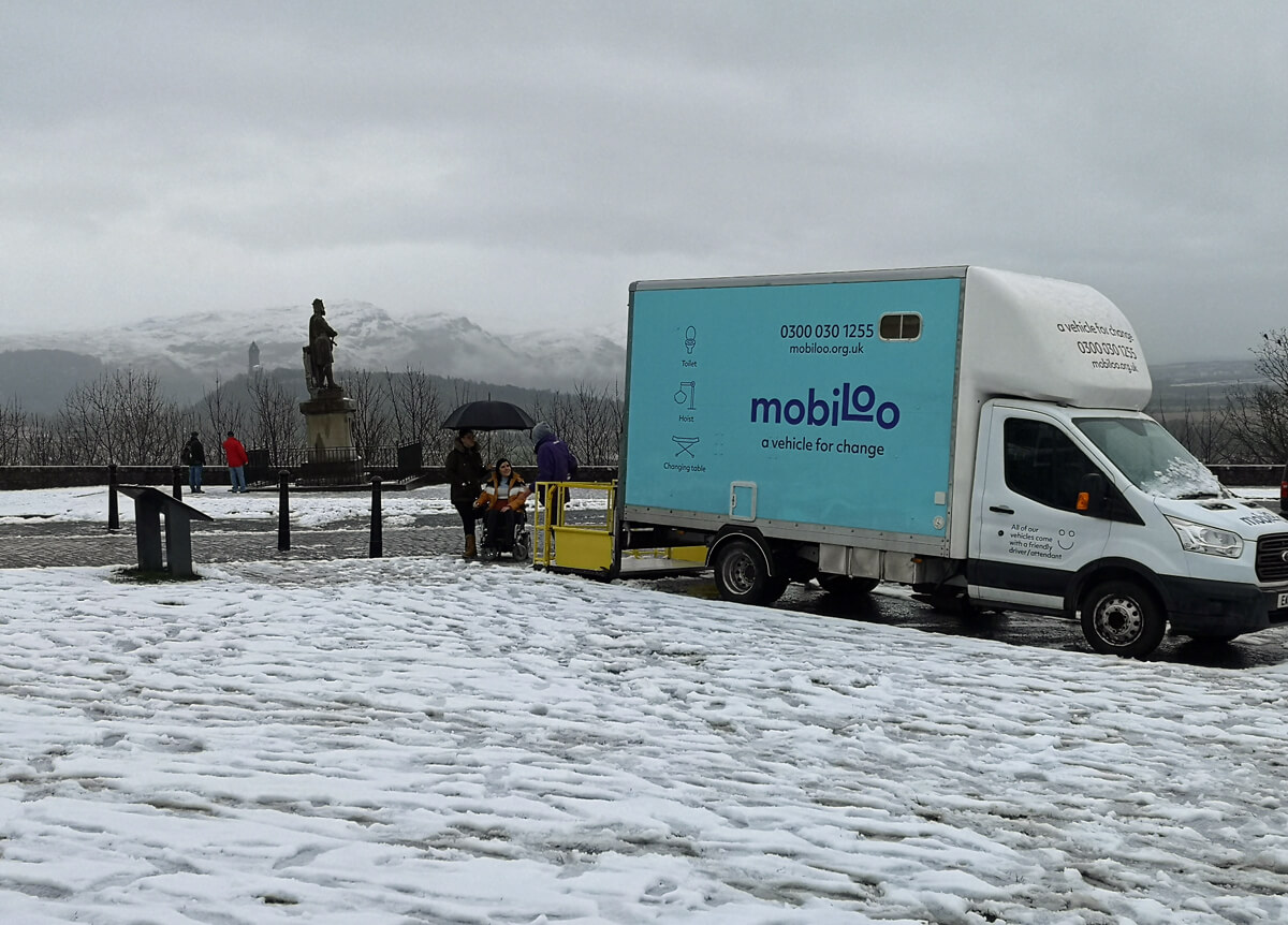 Mobiloo sitting in the Stirling Castle carpark