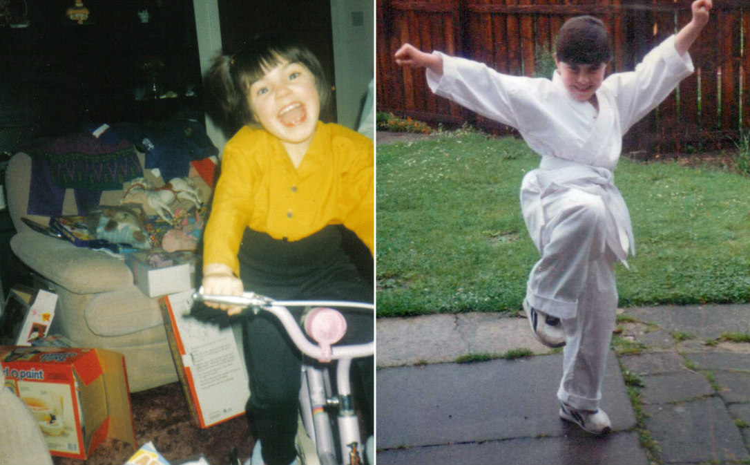 A college of two photos. The first photo is Emma around the age of 7 on her bike. The second photo is Emma wearing her Karate suit around the age of 8 or 9.