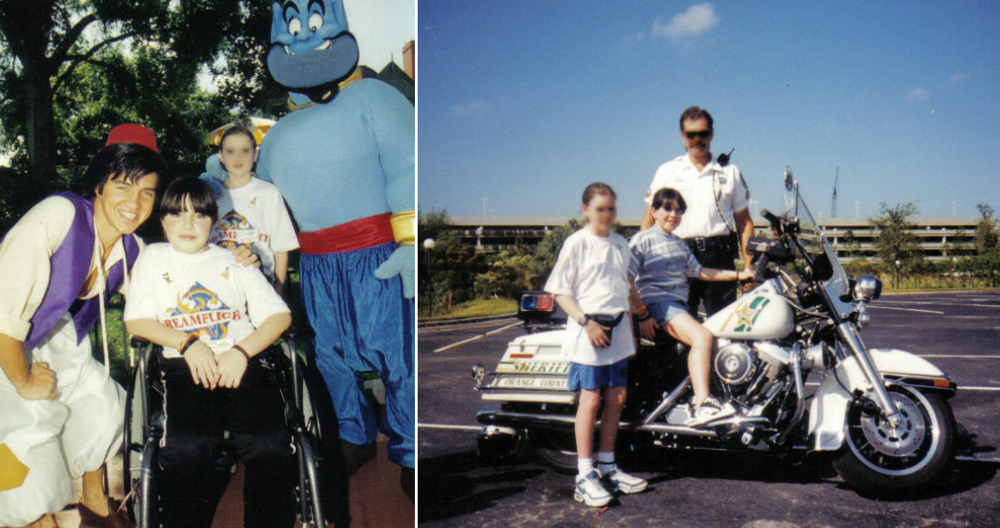 A college of two photos. The first photo is Emma in her manual wheelchair aged 9 in Florida posing beside Aladdin and The Genie. The second photo is Emma seating on an American cops motorbike in Florida.