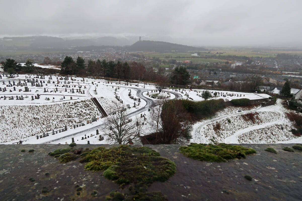 View from Stirling Castle. The cemetery and friends are covered in snow.
