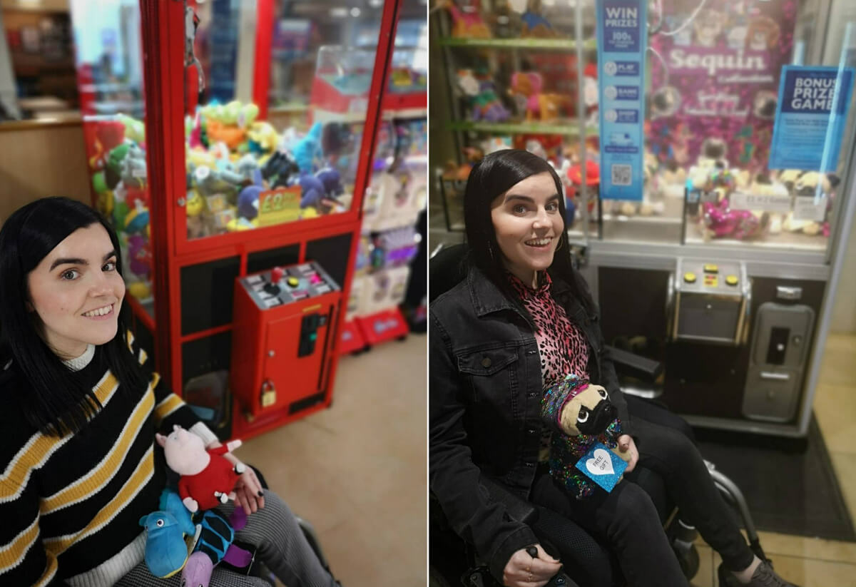 Two photos of Emma - both are Emma sitting beside the grabber machine holding the soft toys Allan won for their nephew.