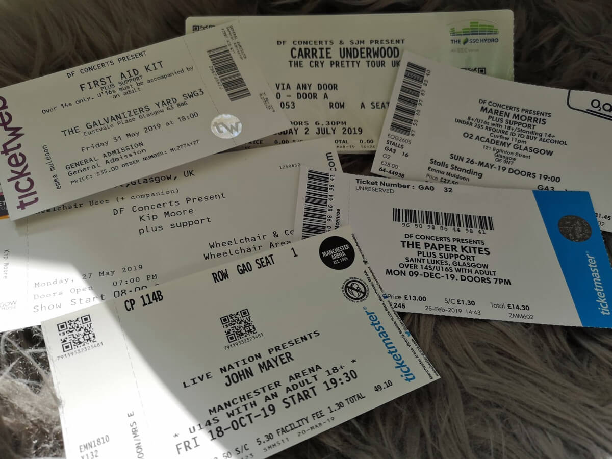A collection of gig tickets.