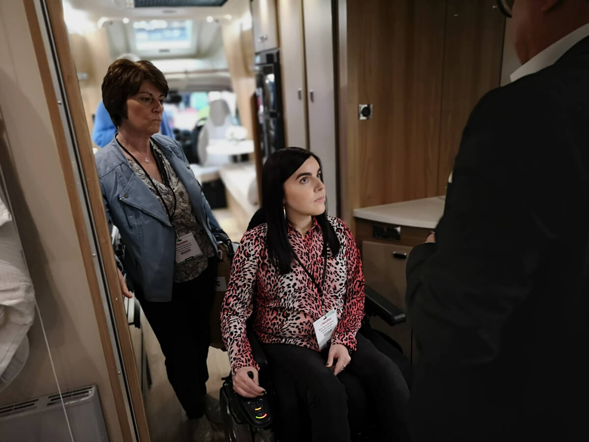 Emma and her Mum inside the coachbuilt GB wheelchair accessible motorhome.