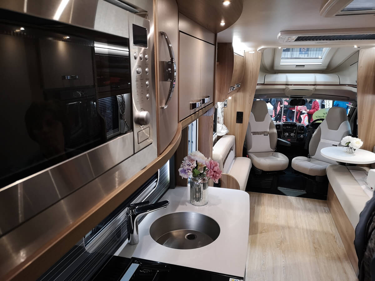 Inside the coachbuilt GB wheelchair accessible motorhome.