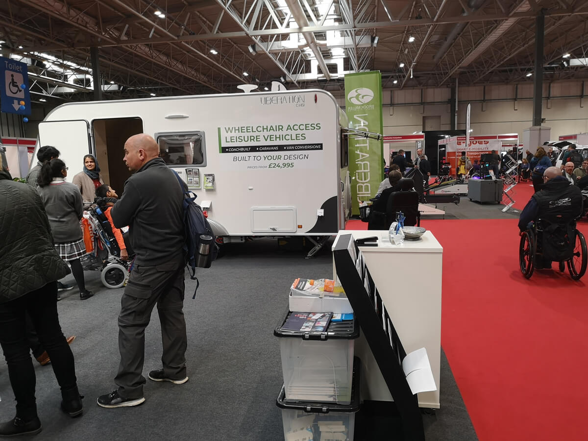 A wheelchair accessible caravan at Naidex 45.