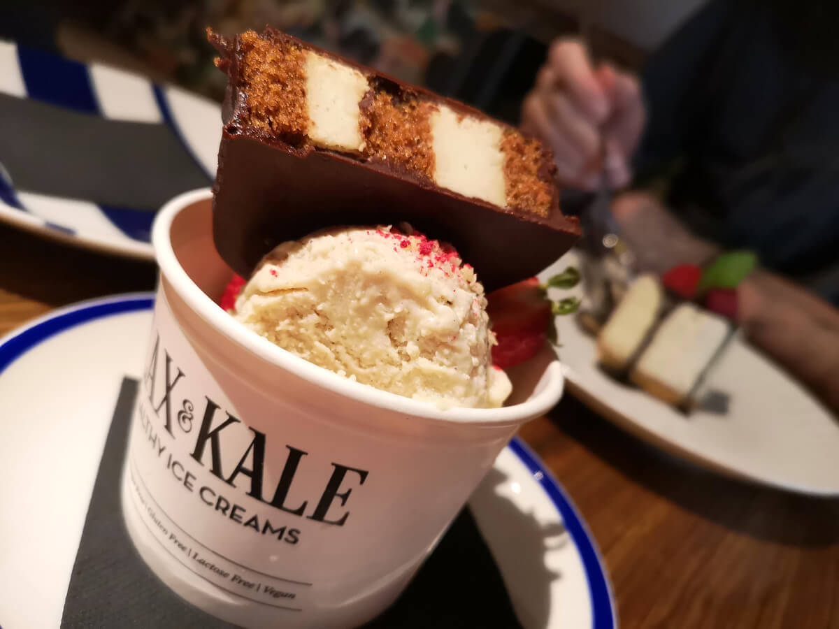 Healthy ice cream dessert from Flax & Kale Passage.