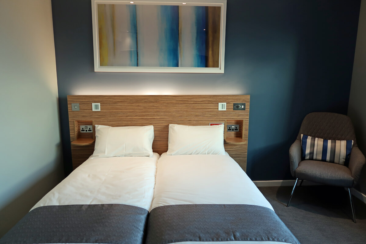 The twin double bed in our wheelchair accessible SuperRoom at Travelodge Solihull.