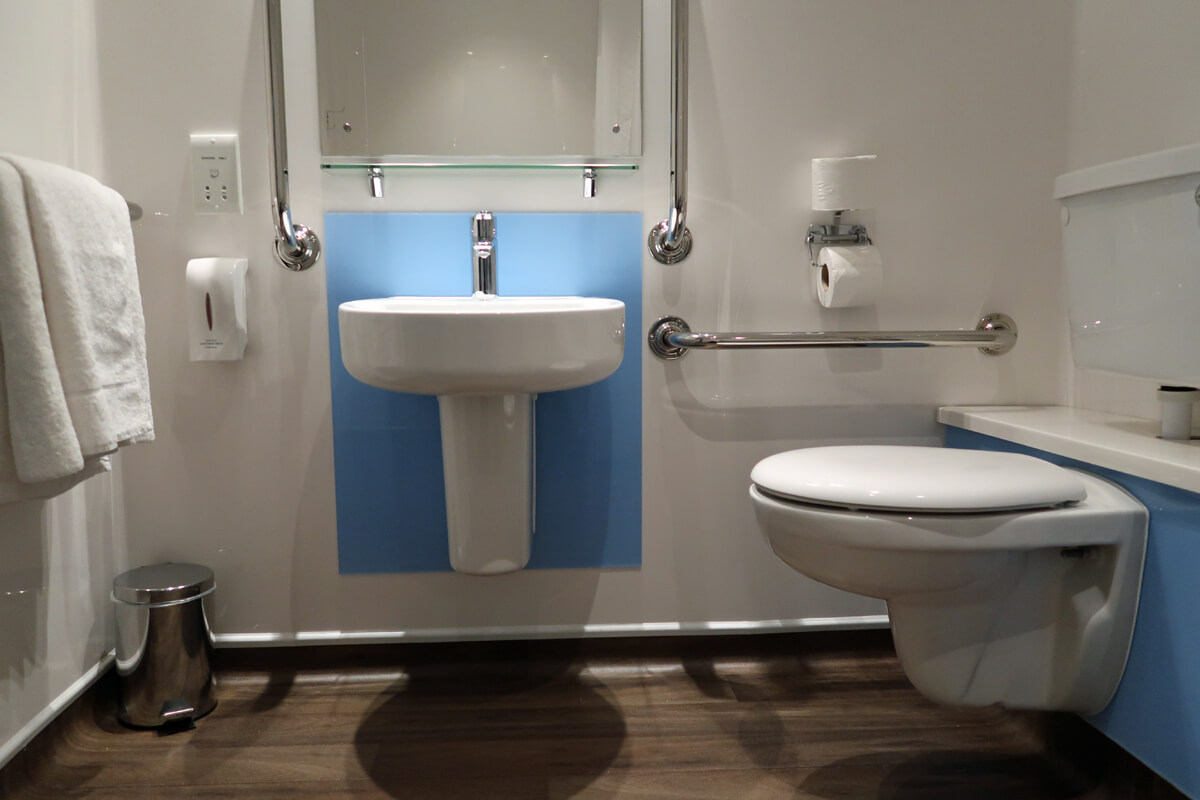 Travelodge Solihull wheelchair accessible SuperRoom bathroom sink.