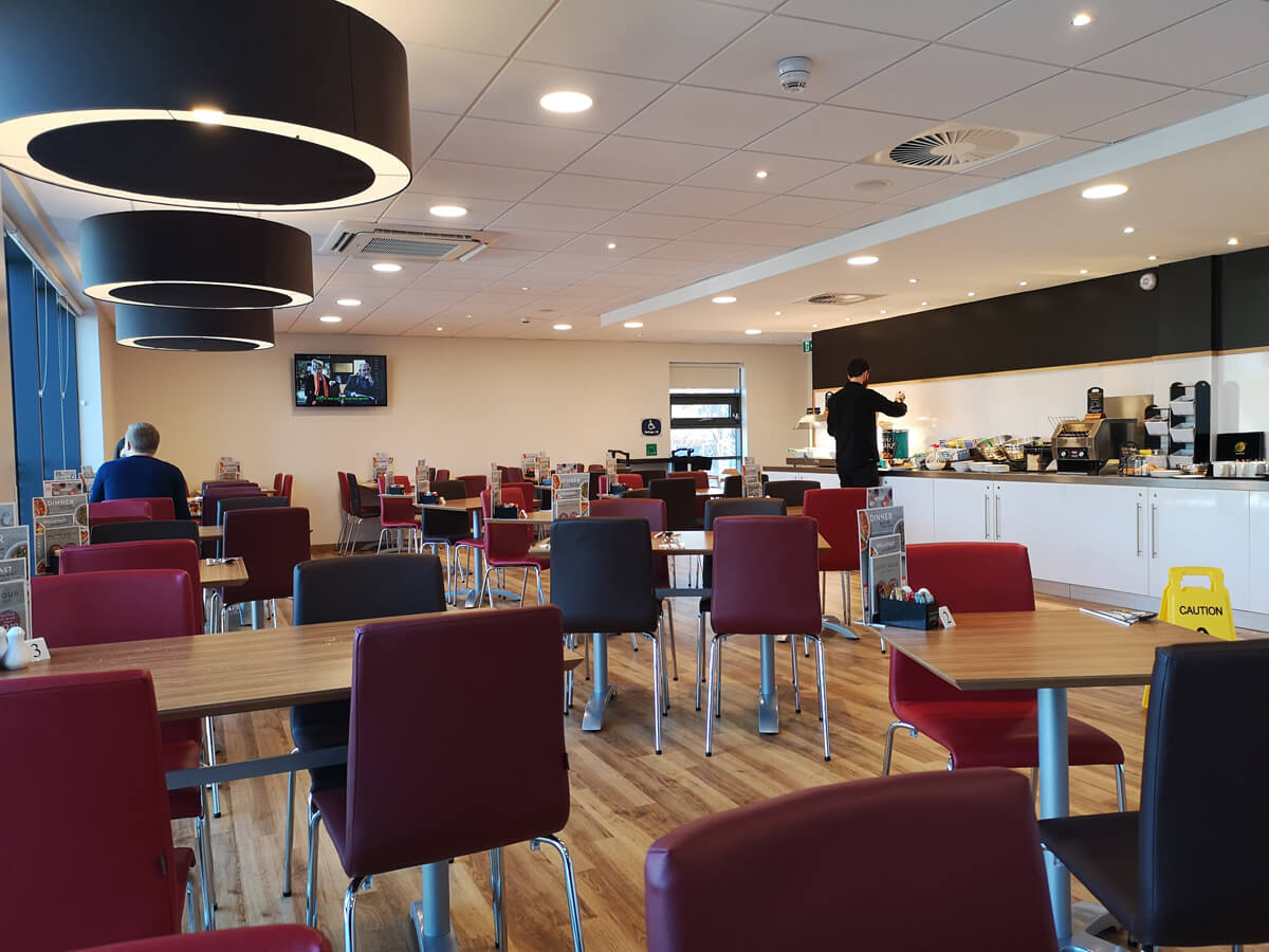 Travelodge Solihull bar cafe seating.