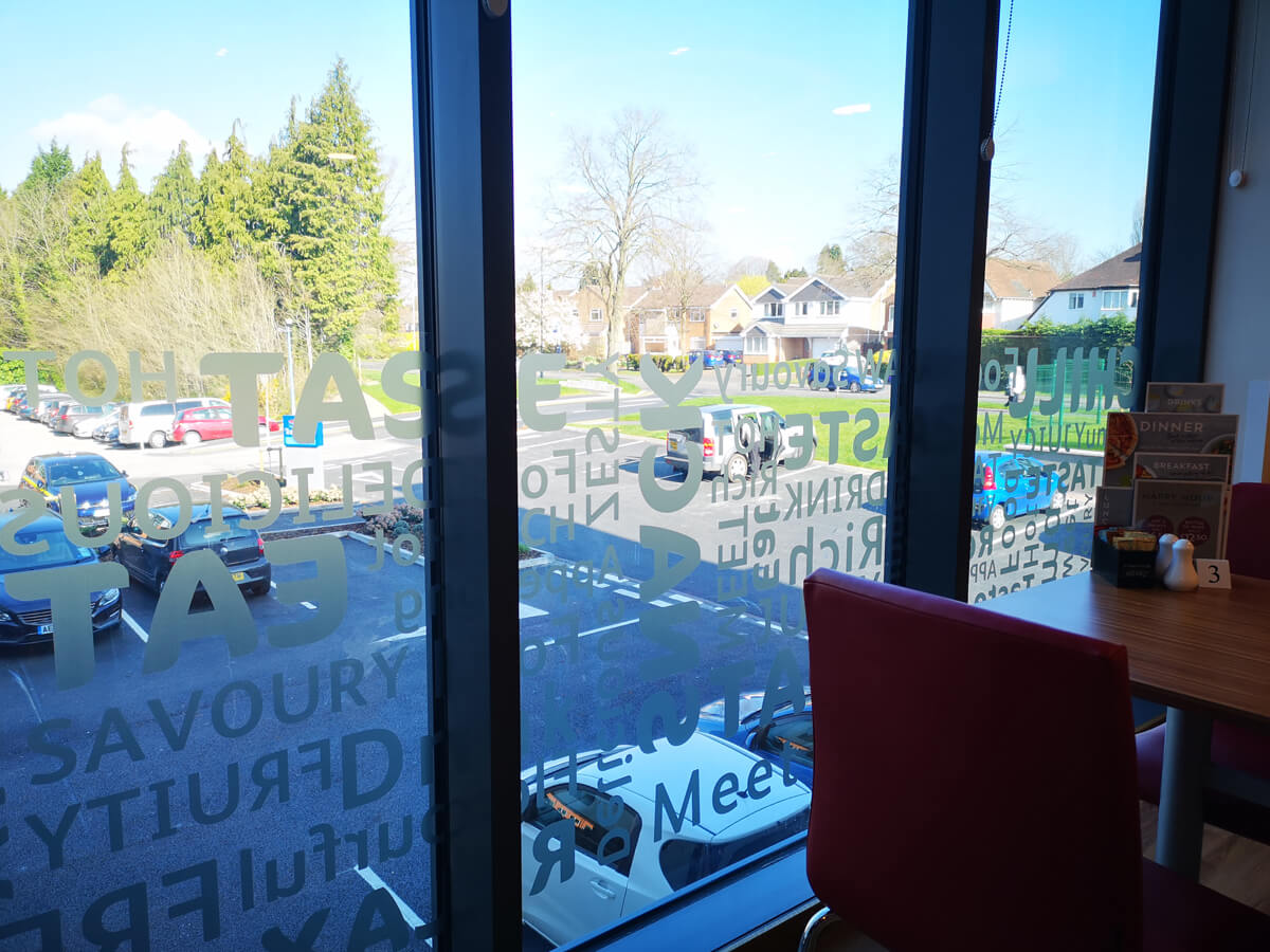 Travelodge Solihull view out from the bar cafe.
