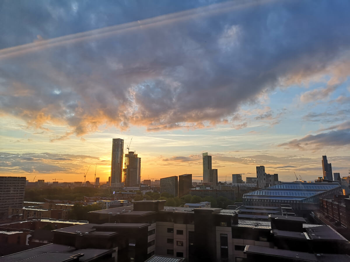Sunset across Manchester from our hotel room window.