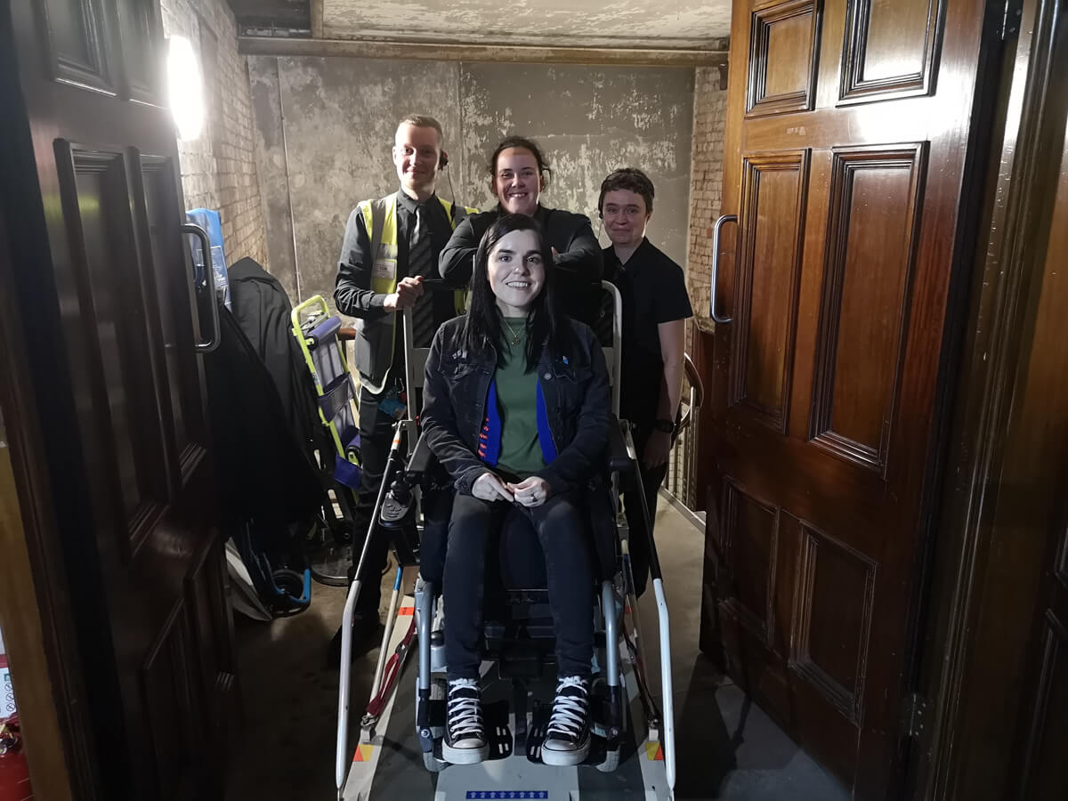 Emma with the accessibility team at Albert Hall Manchester.