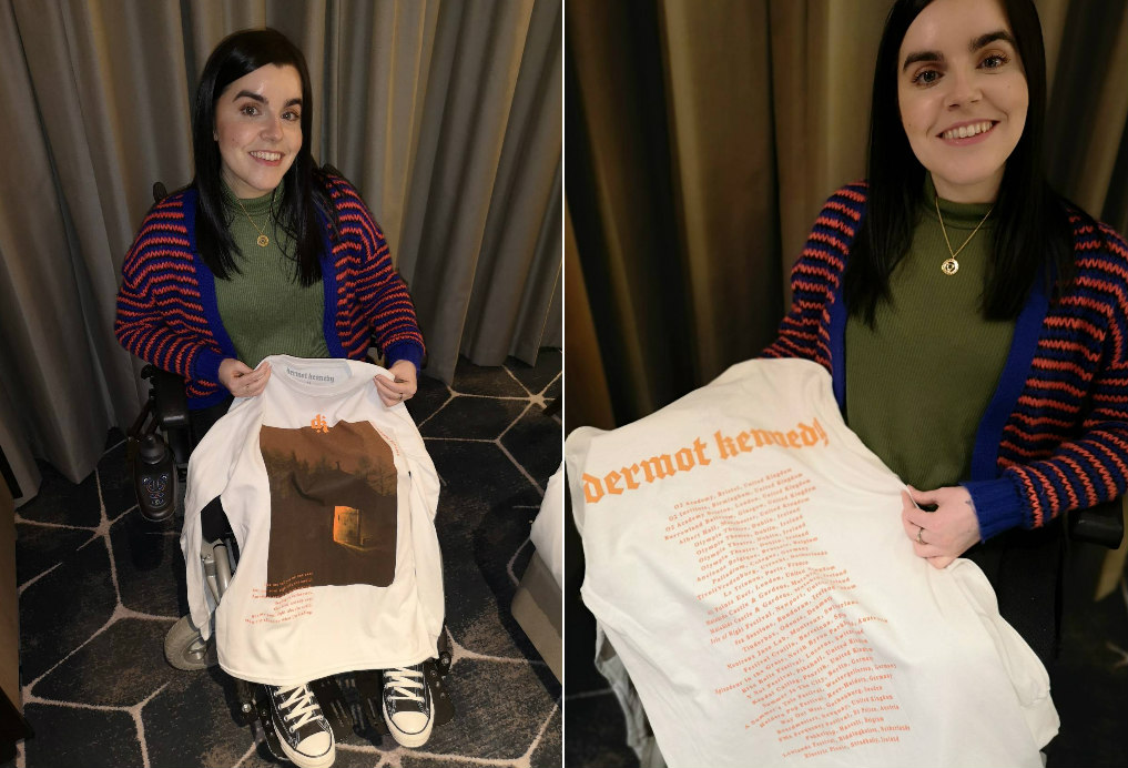 A photo collage of Emma holding a tour t-shirt she got from Dermot Kennedy gig.