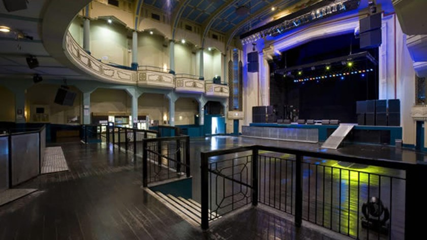 A view of the inside of the venue showing the viewing area.